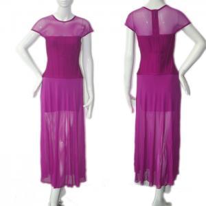 Quality High fashion short design elegant purple see through long tight bridesmaid dress for sale