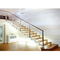 Quality Straight Stairs Systems Single Square Tube Stringer Stairs With Wooden Tread for sale