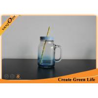 China Square Shape 20oz Gradient Spary Glass Mason Jar For Beverage Drinking on sale