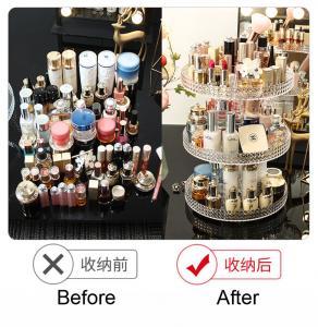 Quality Diamond surface cutting process transparent acrylic cosmetic storage box desktop swivel shelf makeup organizer for sale