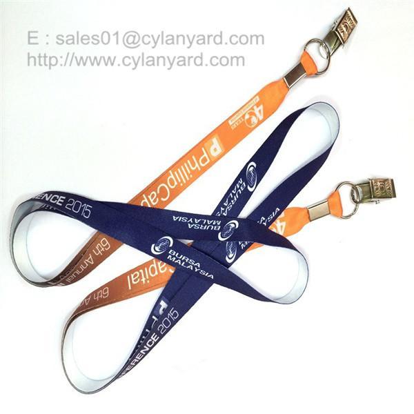 Buy Flat sublimation lanyard with bulldog clip, dye sub lanyard with metal sheet crimp at wholesale prices