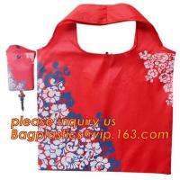 Quality China Factory Custom Grocery Use Polyester T-Shirt Reusable Folding Shopping Bag With Pocket,recyclable PP non woven fol for sale
