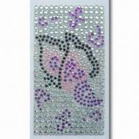Quality Mobile Phone Sticker in Lovely and Novelty Design, Made of Pearl or Jewel, with Rhinestones for sale