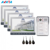 """Quality 7"""" TFT Wired Video doorbell Intercom interphone System for 4-Apartments for sale"""