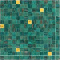 Quality Good sale green mosaic with gold line 20mm glass mosaic mix pattern for sale