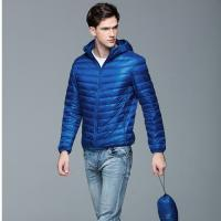 China new style small quantity solid color nylon/polyester winter mix size slim fit men goose feather jacket on sale