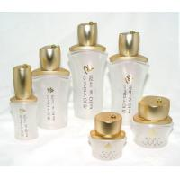 Quality OEM White frosted  Cosmetic Packaging Glass Bottles and Jars with cap and pump for sale