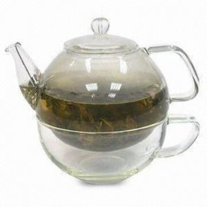 China Borosilicate Glass 340mL Tea Pot with Glass Set on sale