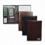 Quality PU Leather Portfolio with Metal Tag, Inside Window Pocket for sale