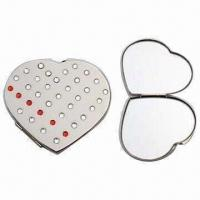 Quality Metal Heart-shaped Pocket Mirror, Measuring 6.5 x 5.7 x 0.8cm for sale