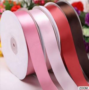 China Fashion Single Face Satin Ribbon 2.5 CM plain color Cotton Satin pe Ribbon For Clothing Striped on sale
