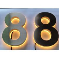 Quality Stainless Steel Channel Letter Signs 3D Backlit Number Illuminated Brushed Polish for sale