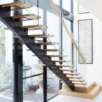 Quality Modern Design Straight Glass Staircase with Solid Oak Staircase for sale