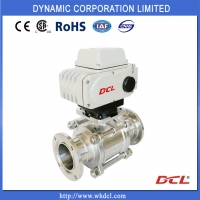 Quality Super Small Torque 24VDC DN65 2 Piece Sanitary Ball Valve for sale