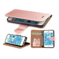 Quality Rose Gold Leather Wallet Case For iPhone 5 5S SE , iphone Leather Case Luxury for sale