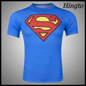 Quality Blue Super Man Compression Wear Sublimated Compression Shirts for sale