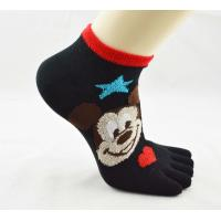 Quality Ankle Sox, Durable Breathable Kid's Black Five Toe Socks With Mickey Snowman Patterns for sale