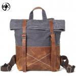 Quality new design backpack men vintage retro canvas travel shoulder bag waterproof oil wax canvas business bag leather man for sale