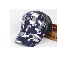 Quality Camouflage Sports Baseball Hat / Mesh Golf Cap with 6 Panel Single Row Plastic Button for sale