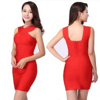 Quality 2014 sexy simple design modest red/black crisscross bust skintight bodycon dress for sale