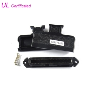 2.16mm pitch Telco Centronic 50 Pin Connector IDC Female Type 25 Pairs Connector with 180 Degree black Plastic cover