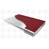 China With Red Leather Stainless Steel Business Card Holder with Mirror on sale