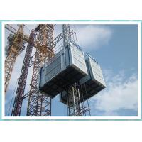Bridge Construction Material Lifting Hoist With Two Cage , Rack And Pinion