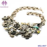 Vintage Jewelry Metal Flower pendant retro gold flower necklace jewlery