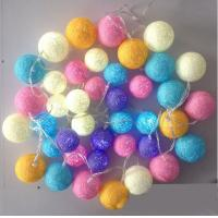 China led cotton colorful ball light 10leds battery power string light on sale