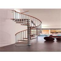 Buy cheap Carbon Steel Bar Spiral Staircase Villa Wood Treads Indoor Spiral Stairs from wholesalers