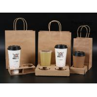 China Earth Friendly Brown Paper Bags With Handles For Holding Milk Tea Cups on sale