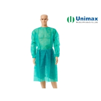 Quality Elastic Knitted Cuff 16gsm Non Woven Disposable Gown for sale