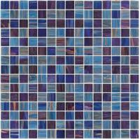 Quality Dark sky blue with gold line 20mm glass mosaic mix patter decoration for counter build for sale