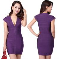 Quality Wholesale/retail glamorous purple short sleeve deep v short tight  party dresses for sale