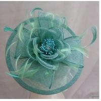 Quality Elegant Green Ladies Fascinator Hats With Sinamay Petals And Feathers Breathable for sale