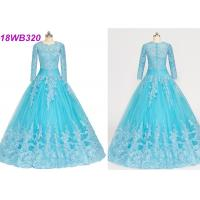 Quality Muslim Style Blue Multi Colored Wedding Gowns With Lace Long Sleeves Zipper Back for sale