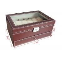 Quality Handmade Mens Watch Jewelry Box , Brown12 Slots Wooden Watch Storage Case for sale