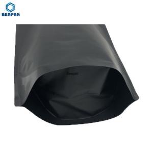 China Stock Aluminium Foil Zipper Doypack Black Matte Stand Up Pouch on sale