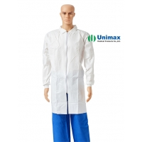 Quality White 70g Protection Non Woven Lab Coat S-2XL Press Button for sale