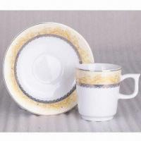 China Porcelain Tea Cup and Saucer Set, Also Ideal for Coffee, Customized Shapes and Designs are Welcome on sale