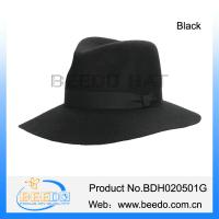 China Classical fashion wool felt wide brim black fedora panama hat wholesale on sale