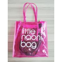 Quality Clear Pink PVC Tote Bag Storage Organizer With Zipper Closure , Inner Pocket for sale