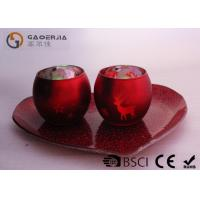 Quality Set Of 2 Portable Red Tealight Holders Brightness For Dinner Decoration for sale