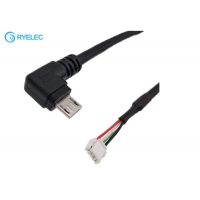 Quality Custom 10cm Black Left Angle Micro USB Male to JST GH-04V-S Connector Power Cable for sale