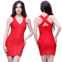 Quality 2014 sexy ladies red heavy stretch cross strap back short skintight bandage dress for sale