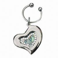 Quality Metal Heart-shaped Keychain, Decorated with Swarovski Crystal Stones, Available in Different Colors for sale