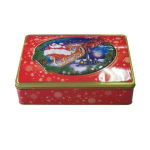 China rectangular hinged Christmas tin box on sale