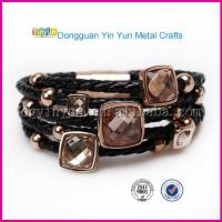 China Hot Sales Chinese Products Online Black PU Leather Wrap Bracelet on sale