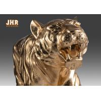 Quality Large Gold Leafed Polyresin Animal Figurines Tiger Sculpture Table Statue for sale