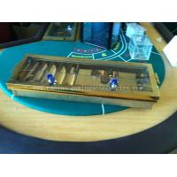 China 5 ROW Gold Inlay Metal Dealer Chip Tray , 68cm Two Hole Casino Accessories wholesale